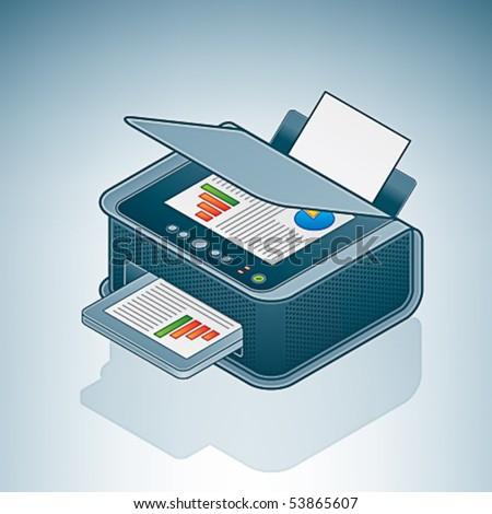 Small Office / Home Inkjet Printer Photocopier - stock vector