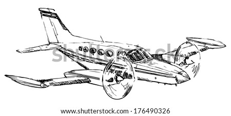 Small passenger propeller airplane drawing on white background  - stock vector
