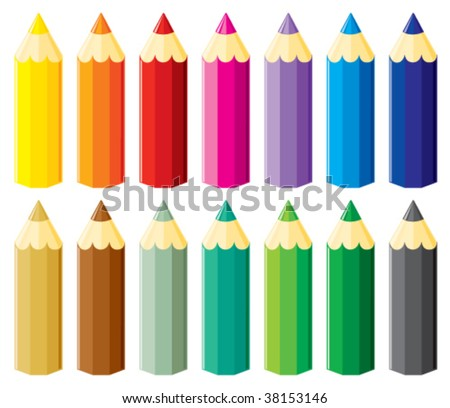 Small pencils set without gradients. Vector illustration. - stock vector