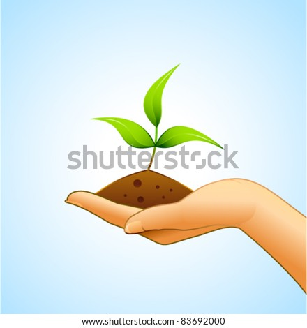 Small plant and some ground on woman's hand - stock vector