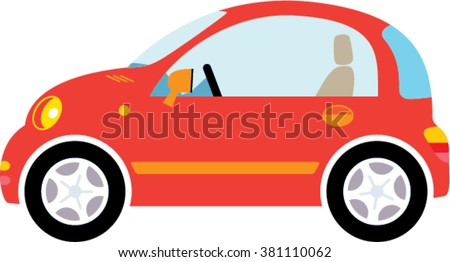 Small red Car illustration. Woman car. Red new car. Car profile vector. Cute small illustration. - stock vector