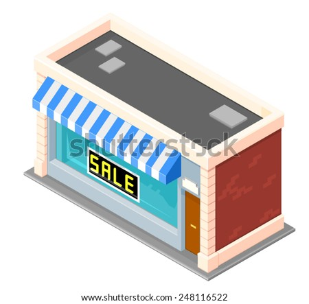 Small Retail Shop with sale sign. Shop Sale with sign in the window. Isometric Retail Store Sale. - stock vector