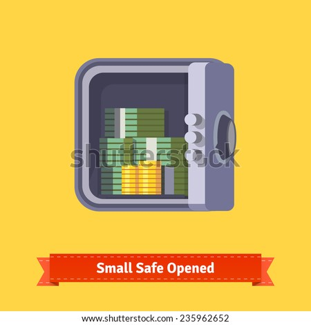 Small safe front view. Opened with money inside. Flat style illustration. EPS 10 vector. - stock vector