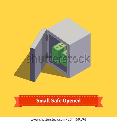 Small safe. Opened with money inside. Flat style isometric illustration. EPS 10 vector. - stock vector