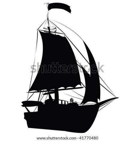 Small sailing ship silhouette isolated on white background, perspective draw design - stock vector