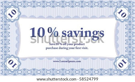 Small Savings Coupon; vector illustration - stock vector