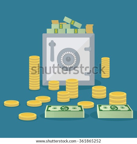 Small silver closed safe box with gold coins and dollar cash around. vector illustration in flat design on blue background  - stock vector