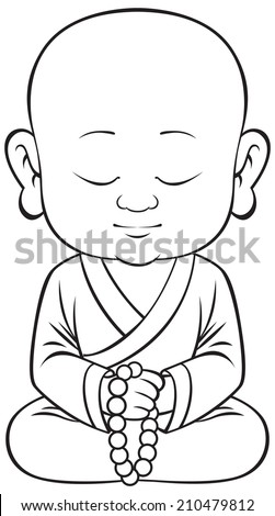 small sitting buddha vector - stock vector