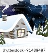 Small snowbound cabin in the winter forest. Night rural landscape - stock vector