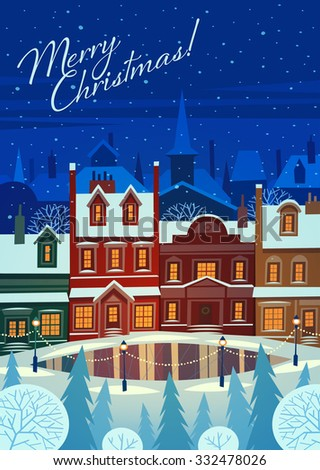 Small snowy town at holiday eve. Christmas greeting card background poster. Vector illustration. - stock vector