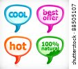 Small speech balloon designer icon pack. Cool, Best Offer, Hot, 100 percent natural - stock vector