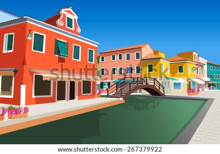 Small street in Venice Italy - stock vector