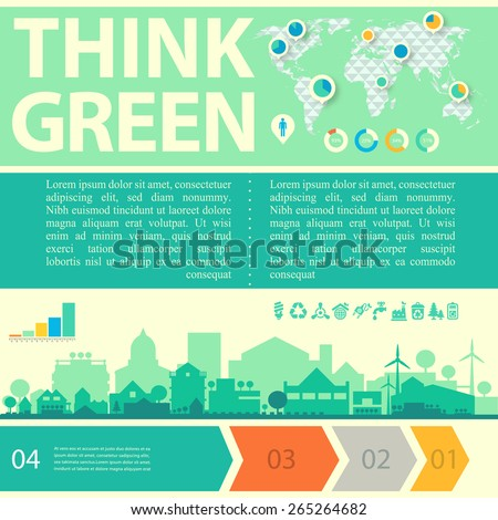 "Small town and village ecological concept ""Think green!"" with step banners and infographics world map - stock vector"