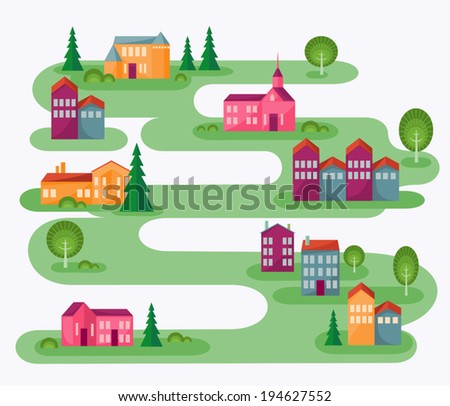 Small Town. Cartoon illustration with abstract map of countryside. Rolling landscape with small village and trees. Colorful houses. Cute street in flat design style. Architect concept. Vector is EPS8. - stock vector