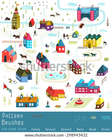 Small Town or City Houses Buildings Landscape Big Collection of Elements for Design. Colorful hand drawn sketchy pencil feel illustration. Countryside landscape constructor. Brushes groups included. - stock vector