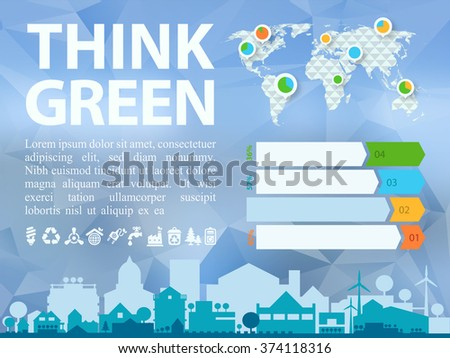 Small town or village ecological illustration Think Green with infographics world map - stock vector