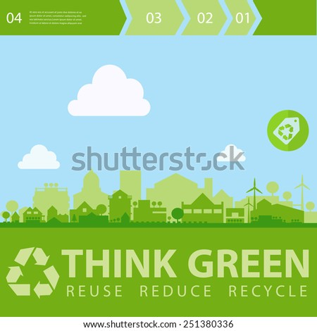 Small town or village ecological illustration with step option banners - stock vector