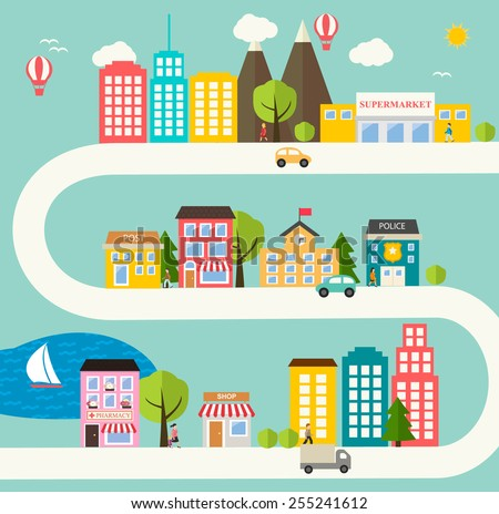 Small town urban landscape in flat design style, vector illustration. With skyscrapers, buildings, roads, cars, trees, street with people, pharmacy, school, police office, supermarket, post, shop  - stock vector