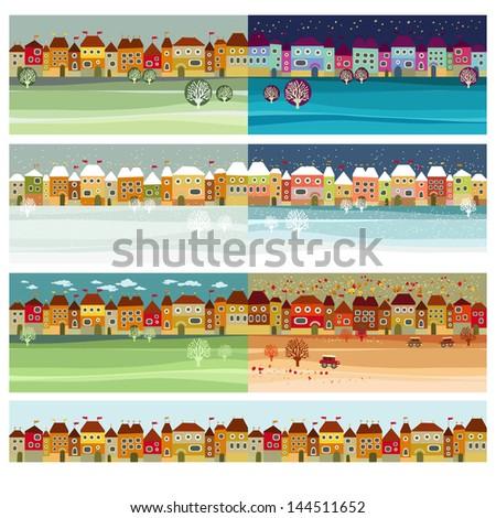 Small Town Vintage Retro Seasons Set. Hand Lettering - Little Town. Vector Illustration. - stock vector