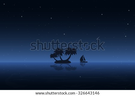 Small tropic island at night. Moored boat, birds, palm and stars. - stock vector