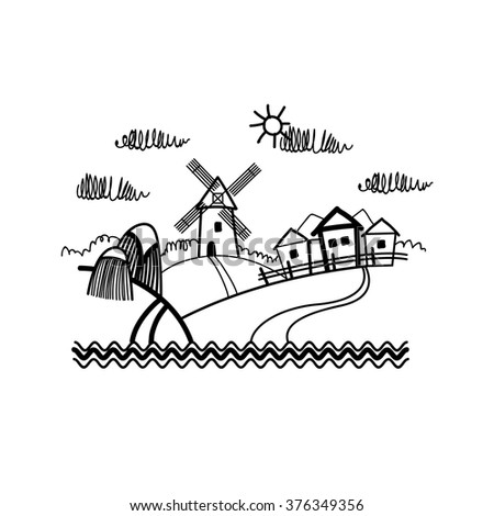 Small Village View Sketch Simple Line Vector Illustration