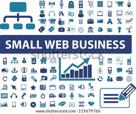 small web business signs, icons set, vector - stock vector