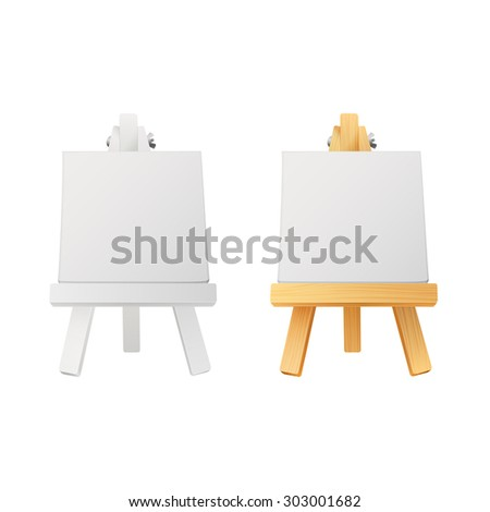 small white and wooden easels with canvas