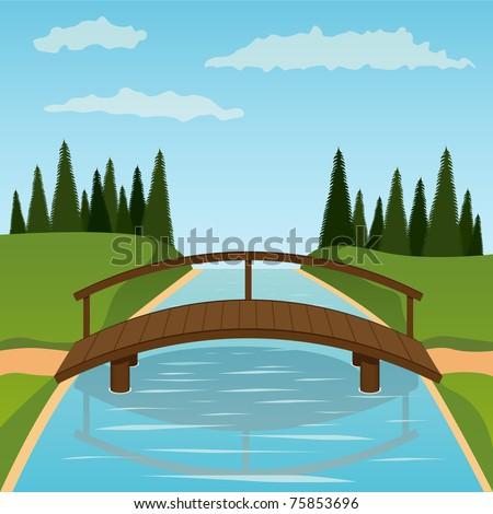 Small wooden bridge. Vector illustration. - stock vector