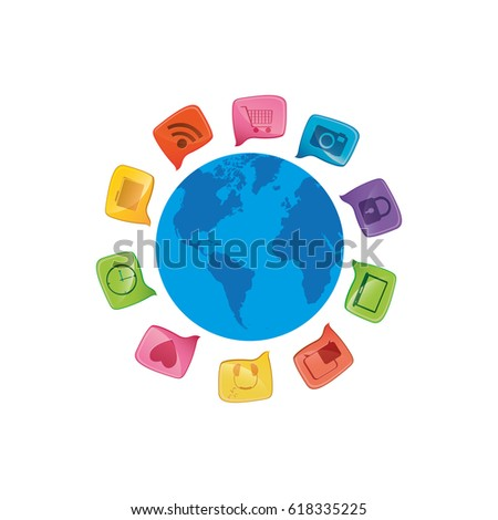 Small world map globe dialogue social vectores en stock 618335225 small world map globe with dialogue social icons vector illustration gumiabroncs Image collections
