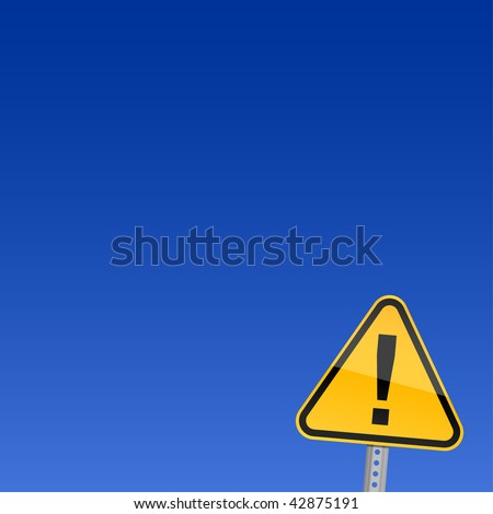 Small yellow road warning sign with exclamation mark symbol on blue background - stock vector