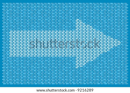 smaller arrows pointing in one direction while making up a larger one going in the opposite direction - stock vector
