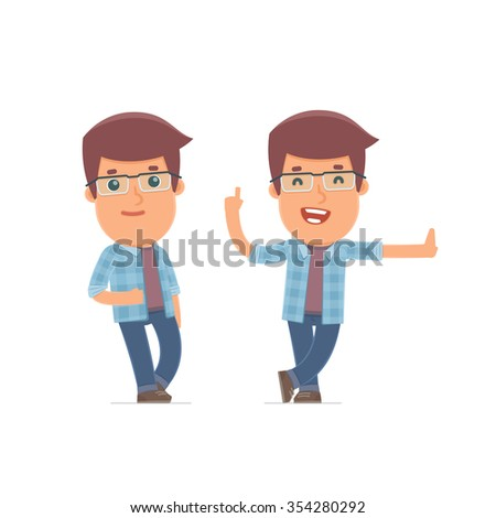 Smart and Funny Character leaned against the wall and shares information. for use in presentations, etc. - stock vector