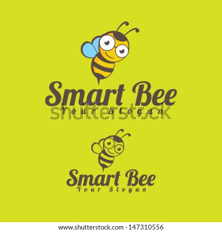 Smart Bee Icon Illustration Vector - stock vector
