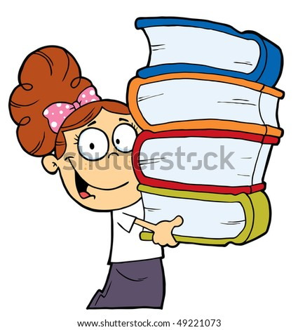 Smart Brunette School Girl Carrying A Stack Of Books - stock vector