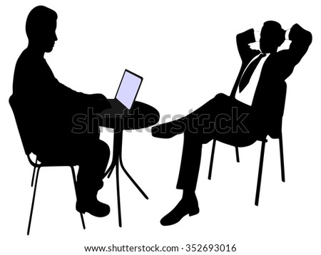 smart businessmen discussing project in laptop
