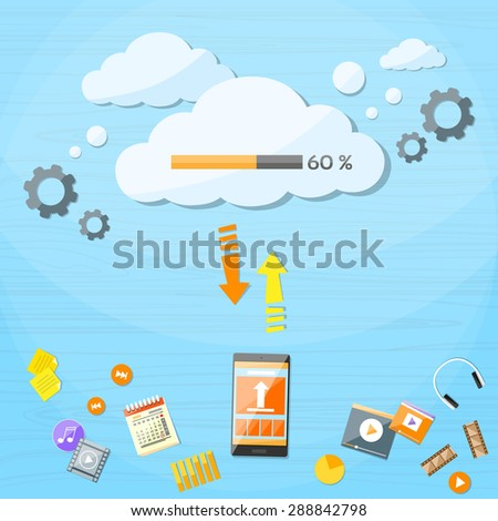 Smart Cell Phone Cloud Upload Online Internet Data Download Information Storage Flat Vector Illustration