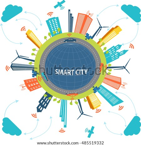 Smart City concept and Cloud computing technology  Internet networking concept  with different elements. Smart city design with  future technology