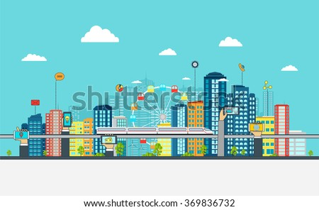Smart City with business signs. Online business concept with hand phones.  - stock vector