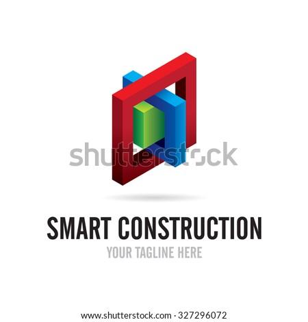 Smart Construction Logo - stock vector