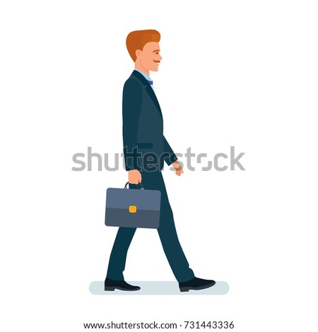 Smart creative man cartoon character. Man, businessman, in business suit, with briefcase in hand, no rush, goes home from work. Side view. Vector