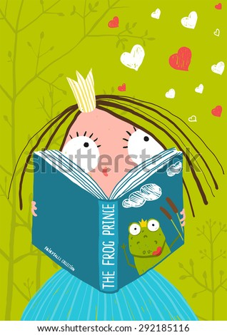 Smart Cute Little Girl Reading Fairy Tale Book . Brightly colored hand drawn illustration for children. - stock vector