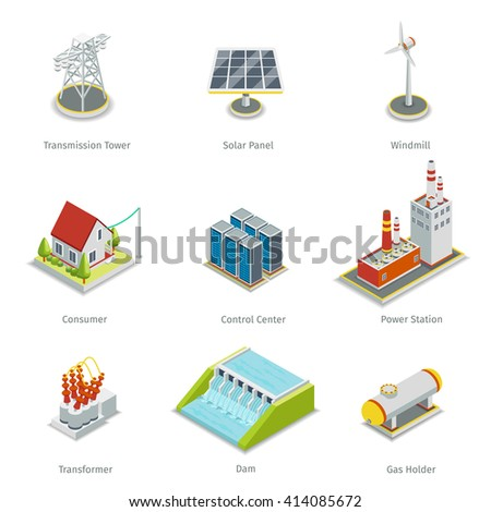 Smart grid elements. Power smart grid items vector set. Energy and electricity, transmission tower, solar panel, windmill and consumer house, control centre, power station illustration - stock vector