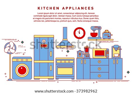 Smart home appliances, internet of things for consumer electronic. Flat horizontal banners with kitchen utensils, electric cooker, refrigerator, kitchen furniture, washing, interior. - stock vector