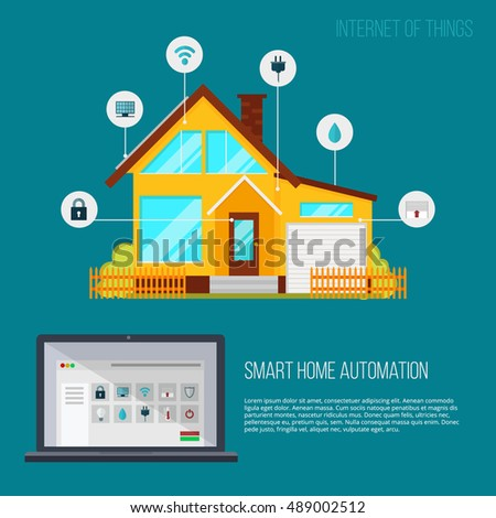 Smart Home Automation System Smart House Stock Vector 489002512 Shutterstock