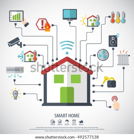 Smart Home Flat Design Style Vector Stock Vector 492577138   Shutterstock