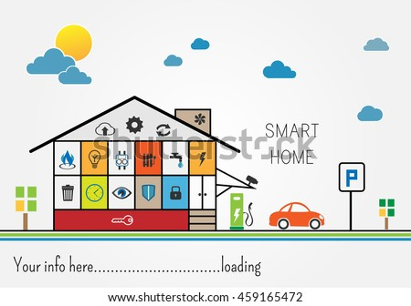 Smart home - gas, electricity, security, water and other control and supply - stock vector