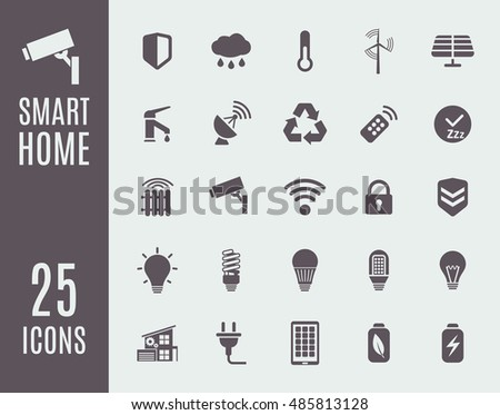 smart home icon set home automation image vectorielle de stock de 485813128 shutterstock. Black Bedroom Furniture Sets. Home Design Ideas