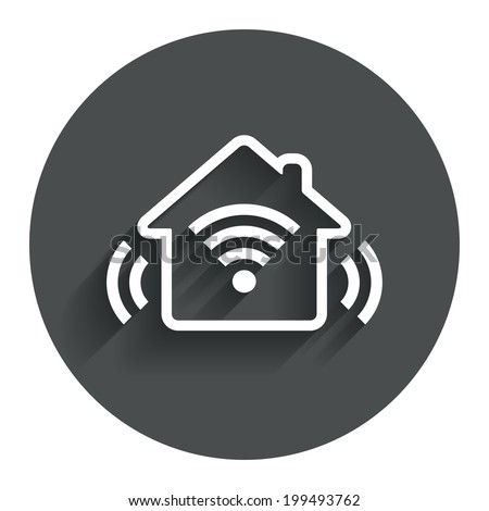 Smart home sign icon. Smart house button. Remote control. Circle flat button with shadow. Modern UI website navigation. Vector - stock vector