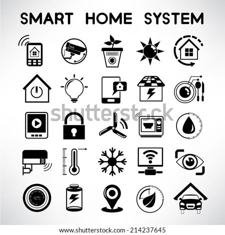 smart home system icons home automation stock vector royalty free 214237645 shutterstock. Black Bedroom Furniture Sets. Home Design Ideas