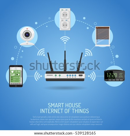 smart house internet things concept smartphone stock vector 539128165 shutterstock. Black Bedroom Furniture Sets. Home Design Ideas